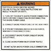 AC Shore Power Inlet Warning Label
