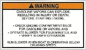 Gasoline Vapor Explosion Warning Label