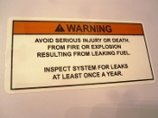 Leaking Fuel Explosion Warning Label